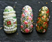 Fabulous Eggs. Custom Press On Nails, Decadent Fake Nails, False Nails Set Faberge, Japanese 3D Nail Art, Designer Fake Nails, 3D Fake Nails