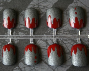 Texas Chainsaw Manicure | Horror Fake Nails  | Gothic Nails| Halloween Costume Fake Nails |  Bloody Press On Nails | Glue on Acrylic Nails