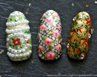 Fabulous Eggs. Custom Press On Nails, Decadent Fake Nails, False Nails Set Faberge, Japanese 3D Nail Art, Designer Fake Nails, 3D Fake Nails