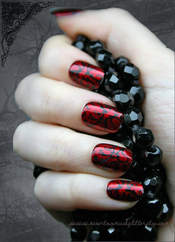 Japanese nail art red gothic baroque press on fake nails goth japanese nail art red gothic baroque press on fake nails goth gothic vampire halloween false nails set fake nails artificial nails from prinsesfo Image collections
