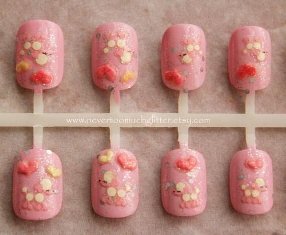 Japanese Nail Art-Kawaii Poodle Fake Nails