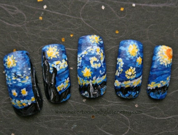 Starry Night (Custom) Artificial Nails, Starry Night Fake Nails, Custom Fake Nails, Japanese Nail Art, Designer Handpainted Nails, OOAK Nail