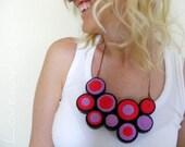 Brown Red Lilac Geometric Jersey Bib Necklace