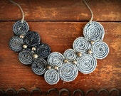 Recycled Jean Bib Necklace No24