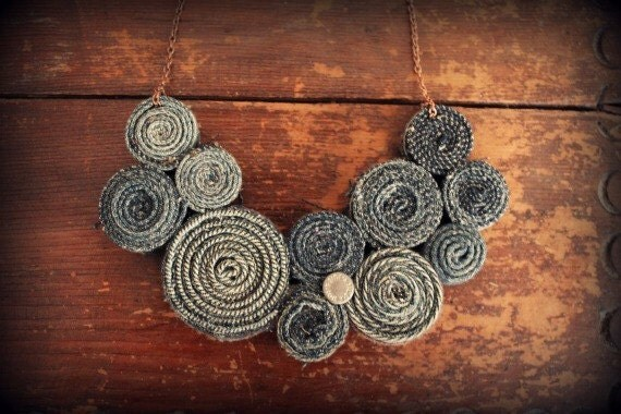 Recycled Jean Bib Necklace No18