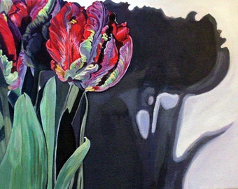 "5x7 Hand Mounted Hand Signed Art Card- ""Parrot Tulips en Masse"""