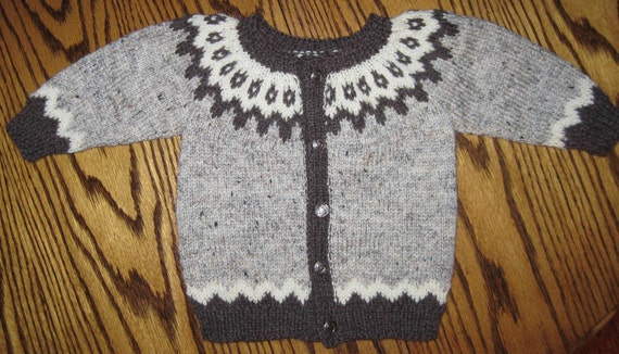 Baby Icelandic Cardigan Sweater Hand Knit Size 9 months Natural Colors Wool
