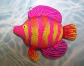 Pop Art limited edition neon purple pink orange yellow fish Christmas ornament
