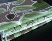 Green Olive Set of 4 cloth napkins- FREE SHIPPING - double sided fabric napkins