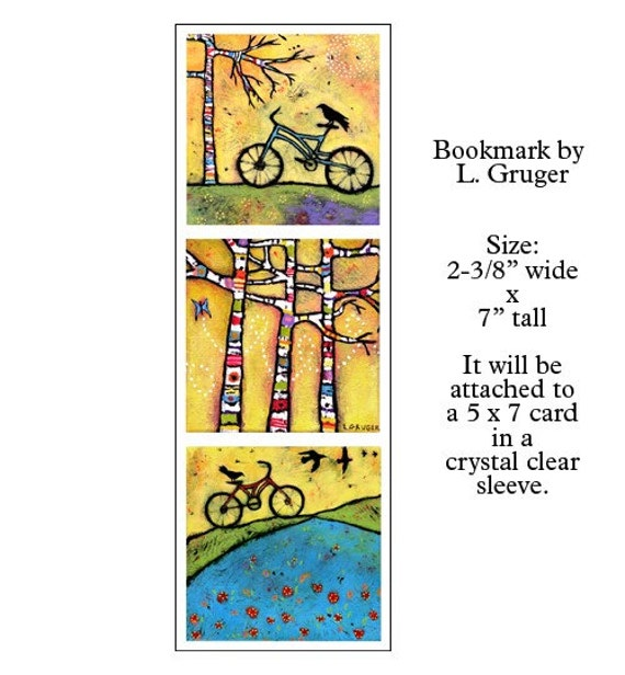 Bicycle and Ravens Bookmark