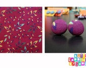 Covered Button Earrings -- Leafy Purple