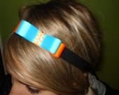 Blue and Orange Bowtie Headband