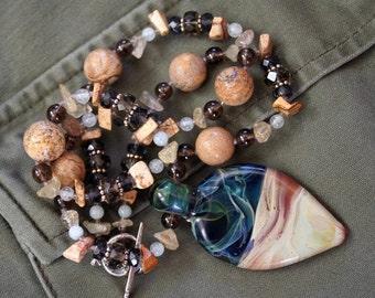 MOONSCAPE Necklace (Lampwork glass, Aquamarine, Quartz, Jasper)