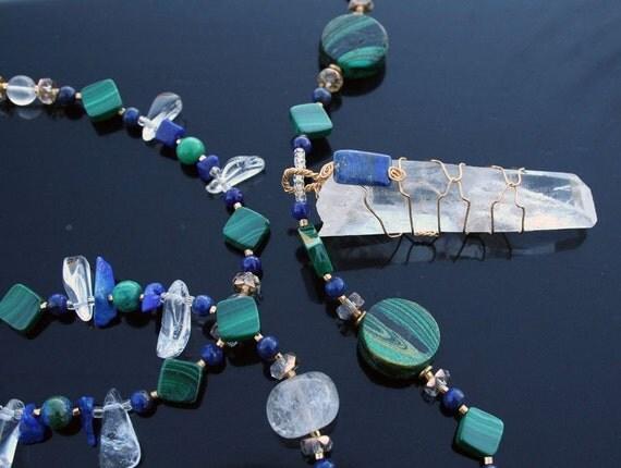 RIVER RAPTURE Necklace (Quartz, Lapis, Malachite, Azurite)