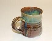 Handcrafted Ceramic Mug, Turquoise Amber Glaze