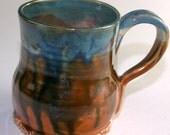 Mug Coffee 10 oz Rust and Blue Ceramic Mug, Handmade Teacup