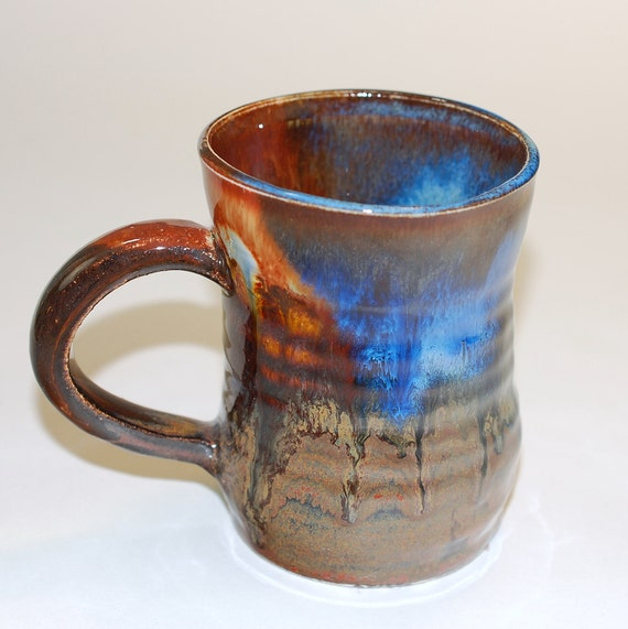Mug Ceramic, Small Blue Orange Copper Stein or Teacup