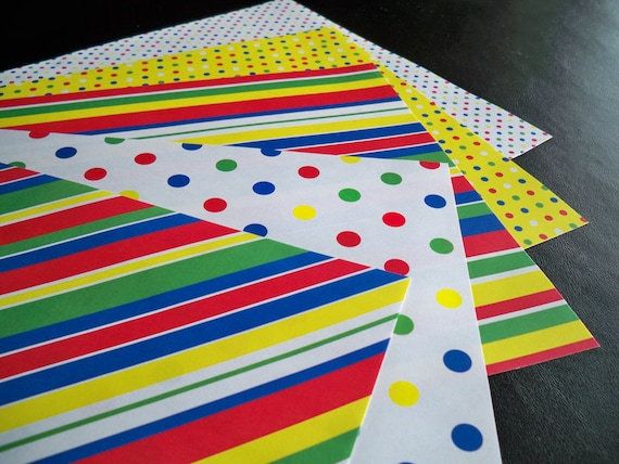 Printable Primary Colored Patterened Papers