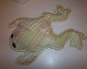 Quilted Light Green Stuffed Frog