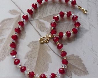 Sparkly Red Velvet  Necklace     -     B977