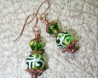 Green Swirl Earrings - E1226