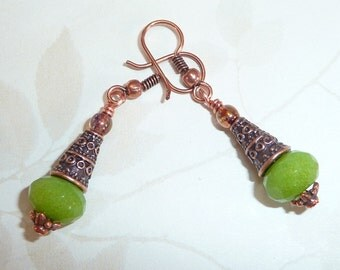 Copper and Green Earrings - E1207