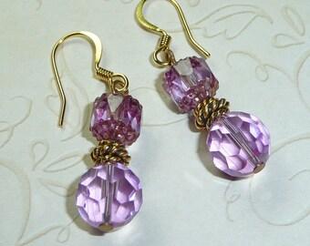 Lavendar Crystal Earrings - E1261