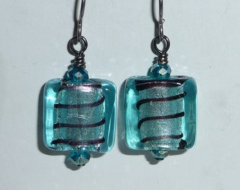Blue Foil Earrings - E1281