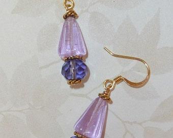 Lavendar Czech Glass Earrings - E1257