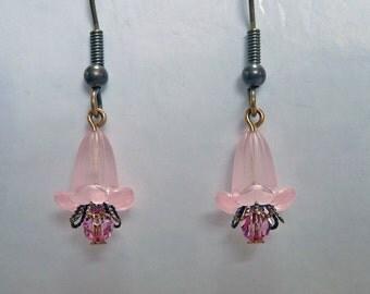 Pink Bell Flower Earrings - E1330