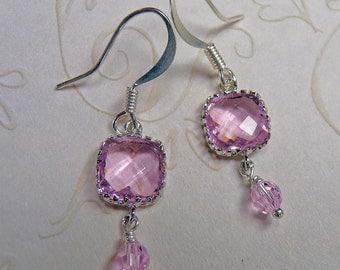Delicate Pink Crystal Earrings - E1326
