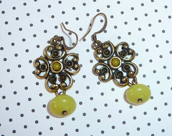 Lime Green Jade Earrings - E1328