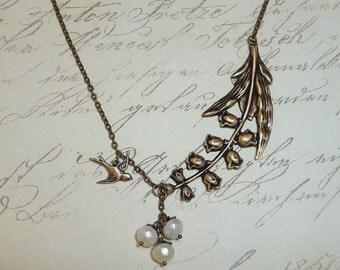 Bird and Flower Garden Necklace - N1299