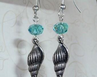 Turquoise Crystal and Sea Shell Earrings - E1432