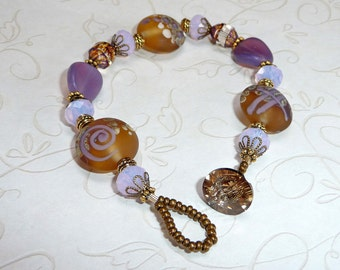 Amber and Amethyst Bracelet - B1442