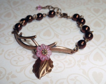 Brown with Pink Flower Branch Bracelet - B1488