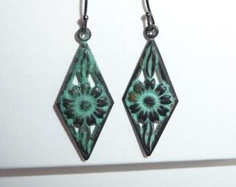 Verdigris Patina Floral Earrings - E1500