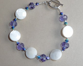 Amethyst and Mother of Pearl Bracelet     -     B879