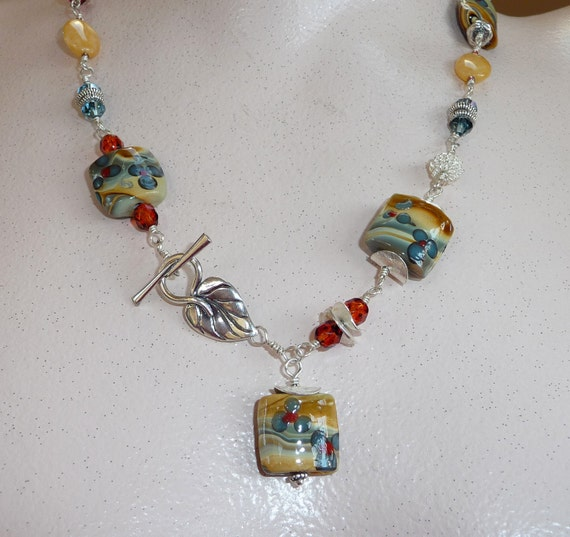Yellow Jade, Crystal and Lampwork Beads Necklace - N1492