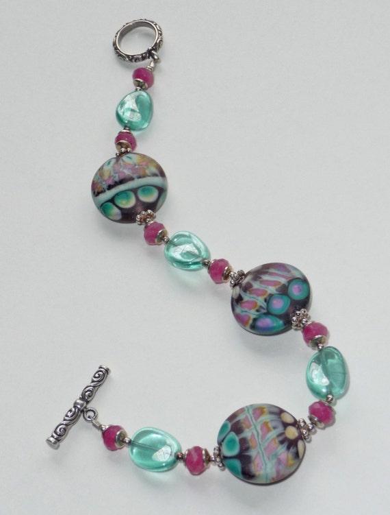 Confetti Lampwork  Bracelet     -     B519