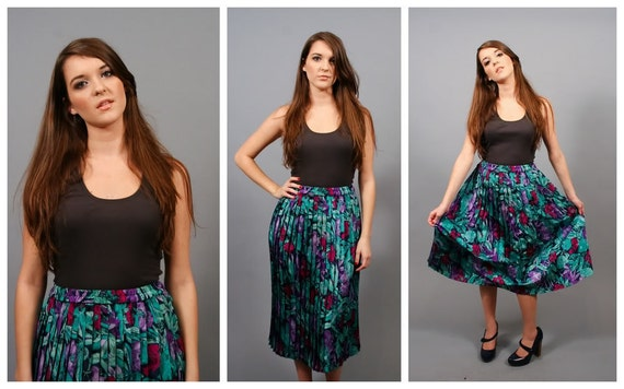 SALE Vintage Jungle Floral Shiny Pleated Midi Slinky Skirt (L)
