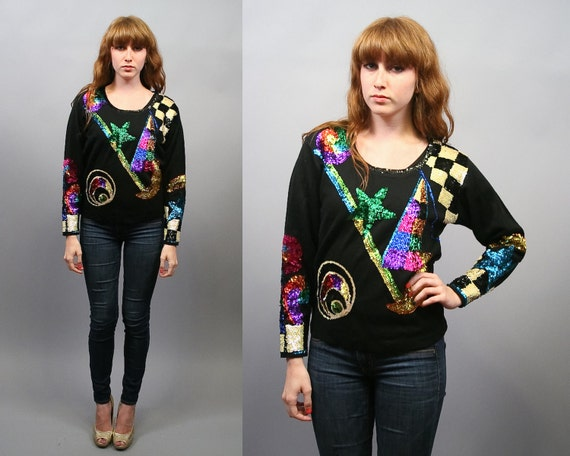 Vintage 80s Sequin Graphic Wool Knit Sweater Top (M)