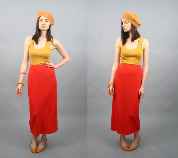 Vintage 90s Tangerine Orange Long Waffle Knit Sweater Maxi Skirt (M)