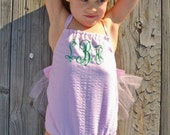 Seersucker Monogram Swimsuit One Piece with Tulle ..........Adorable ......sz 6 mos-8 yrs