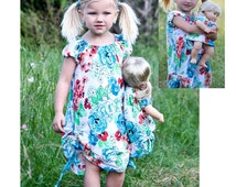 Sewing Pattern Tutorial The Carsyn Knit Ruched Dress Sizes 6m,12m,18m,2t,3t,4,5,6,7,8, Free Doll Pattern included
