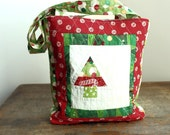 Sale - Set of three quilted Christmas tree tote gift bags -50% off with coupon code 50off at checkout