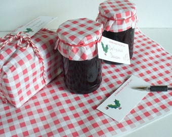 Giftwrap Food  Safe Gingham Paper Twine Tags Choice of colours