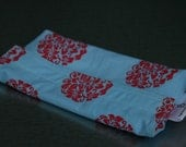 Reusable eco friendly washable Snack Bag - red floral circles on blue