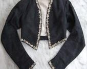 Vintage Victorian Black Silk Faille Bolero Style Jacket
