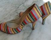 Sale 20% Off - Vintage 1950's Stiletto Shoes, Mad Men - Striped Silk, Pointed Toe, Pencil Heel